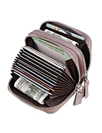 KELADEY Women's RFID Blocking Cute Leather Card Case Wallet Small Accordion Coin Purse (Gray)