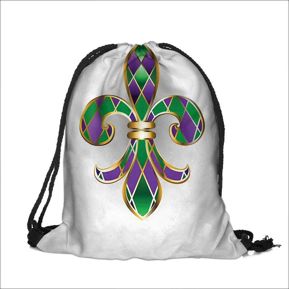 Drawstring Polyester Pocket Jewelry Lilyated With Shapes Royalty G Green Backpack Outdoor Rucksack 12''W x 16''H