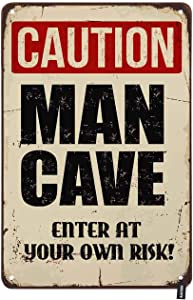 HOSNYE Caution Man Cave Tin Sign Retro Style with Letter Enter at Your Own Risk Vintage Metal Tin Signs for Men Women Wall Art Decor for Home Bars Clubs Cafes 8x12 Inch