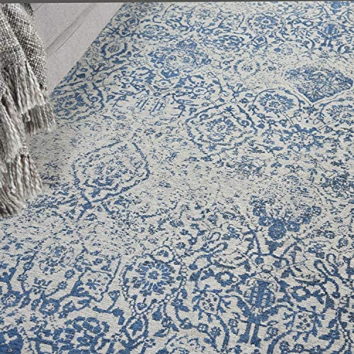 Nourison Damask 9 x 12 Area Rug, Blue