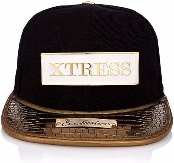 Xtress Exclusive Gorra negra con visera plana dorada. Unisex ...