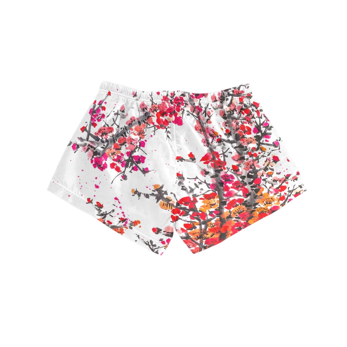 Women Swim Trunks Art Drawing Red Cherry Blossoms Beach Board Shorts