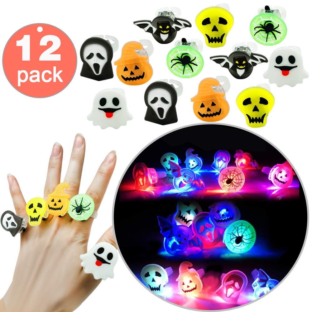12 PACK Halloween Spider Rings, LED Light Up Rings Toys, Glow in the Dark Party Supplies Favors Kids LED Finger Lights,Halloween Spider Web Ghost Pumpkin Skull Bat(6 Designs) Party Costumes Girls Boys Hyanwoo