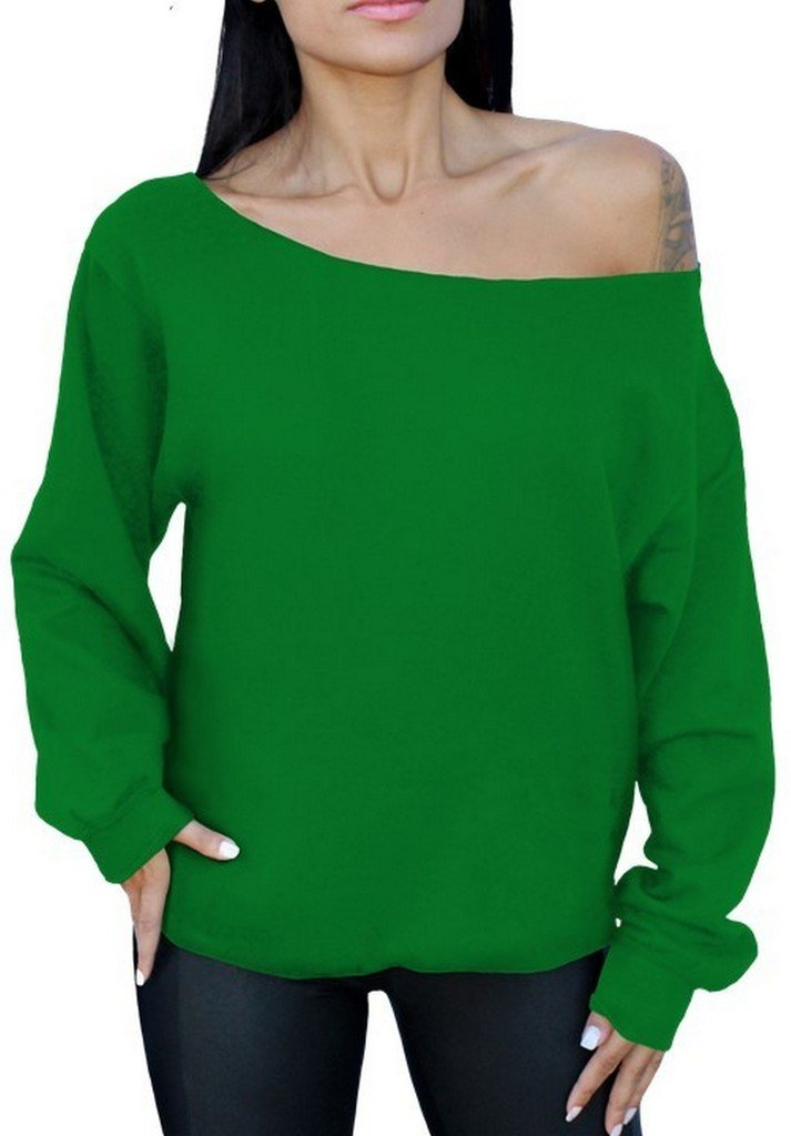 Awkwardstyles Off The Shoulder Sexy Casual Slouchy Oversized Sweatshirt L Green