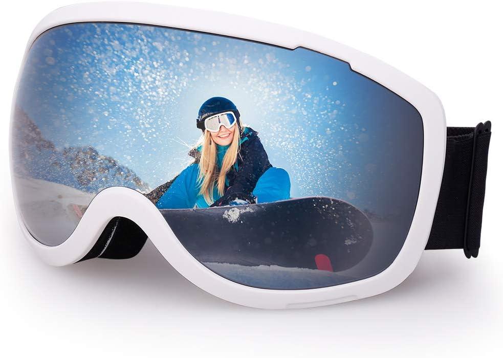 Avoalre Gafas de Esquí Máscara Snowboard Nieve Espejo Gafas de Protección UV400 Ajustable Portable de la de Los Anteojos para Hombre Mujer Adultos Anti Niebla Gafas de Esquiar