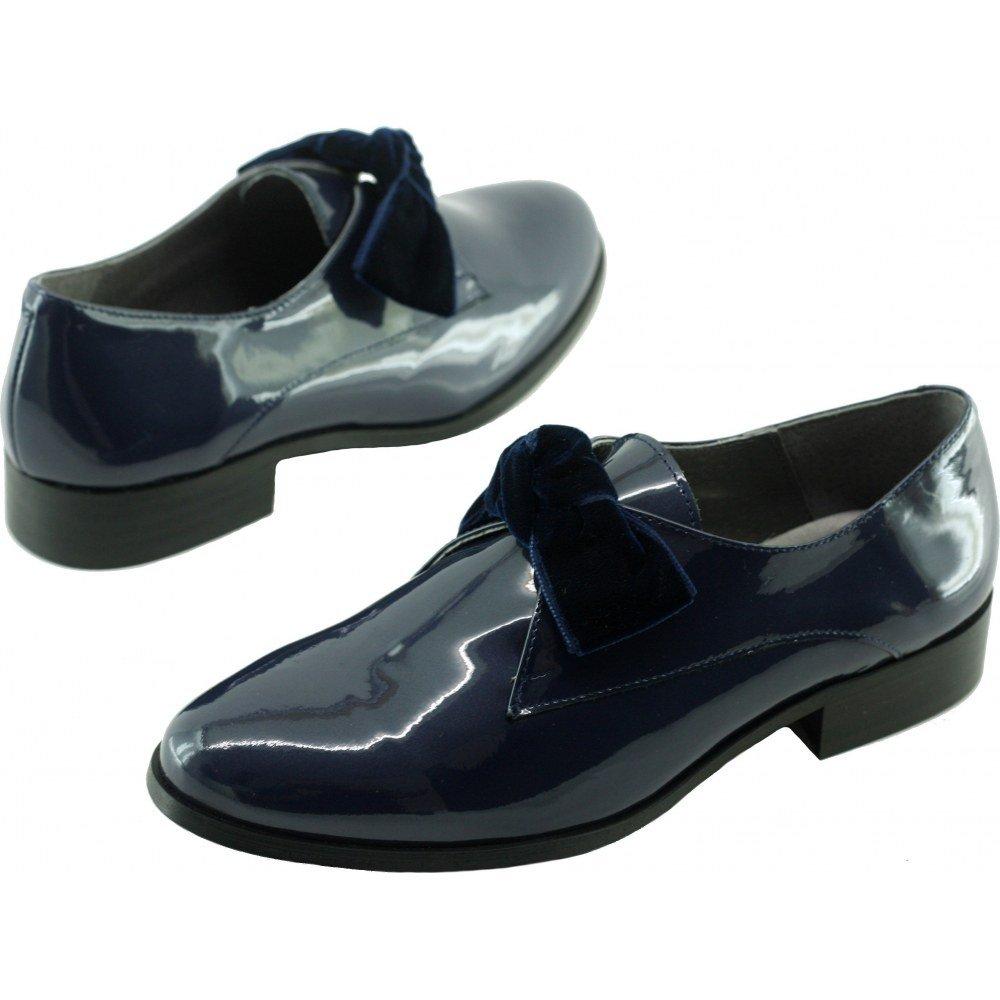 Folie's Ville Loafer große Schleife mit Kleiner Ferse, V-bleu Leder, Marineblau V-bleu Ferse, ee6a82