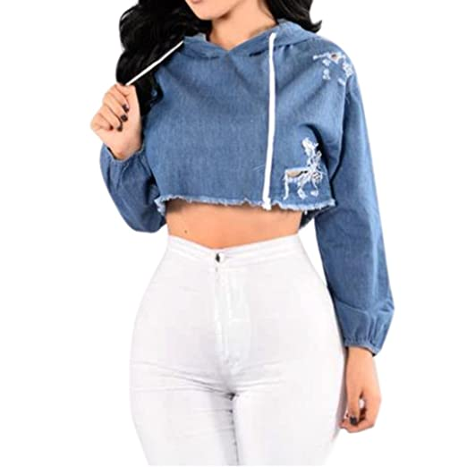 5068c8d848 Women Hip-Pop Style Long Sleeve Ripped Hoodie Sweatshirt, Short Denim  Hooded Pullover Blouse