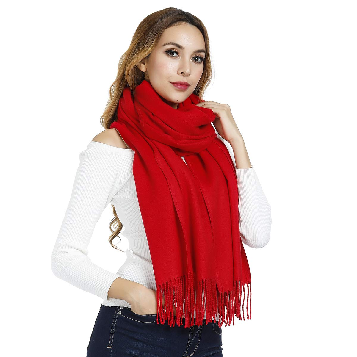 Large Cashmere Scarves for Women Men, Soft Thick Warm Shawls/Wraps in Winter, Ideal Gift, 80x27.5inch, Various Colors