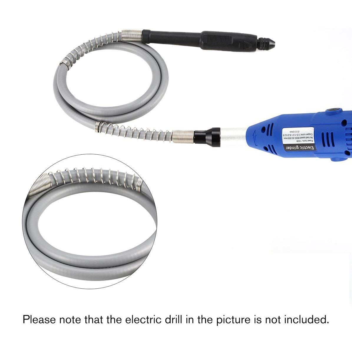 Electric Flexible Shaft Caver Grinder Carving Flexshaft Grill Chuck Extension Cord Rotatory Tool Grinding Accessory Universal Gray WEIWEITOE