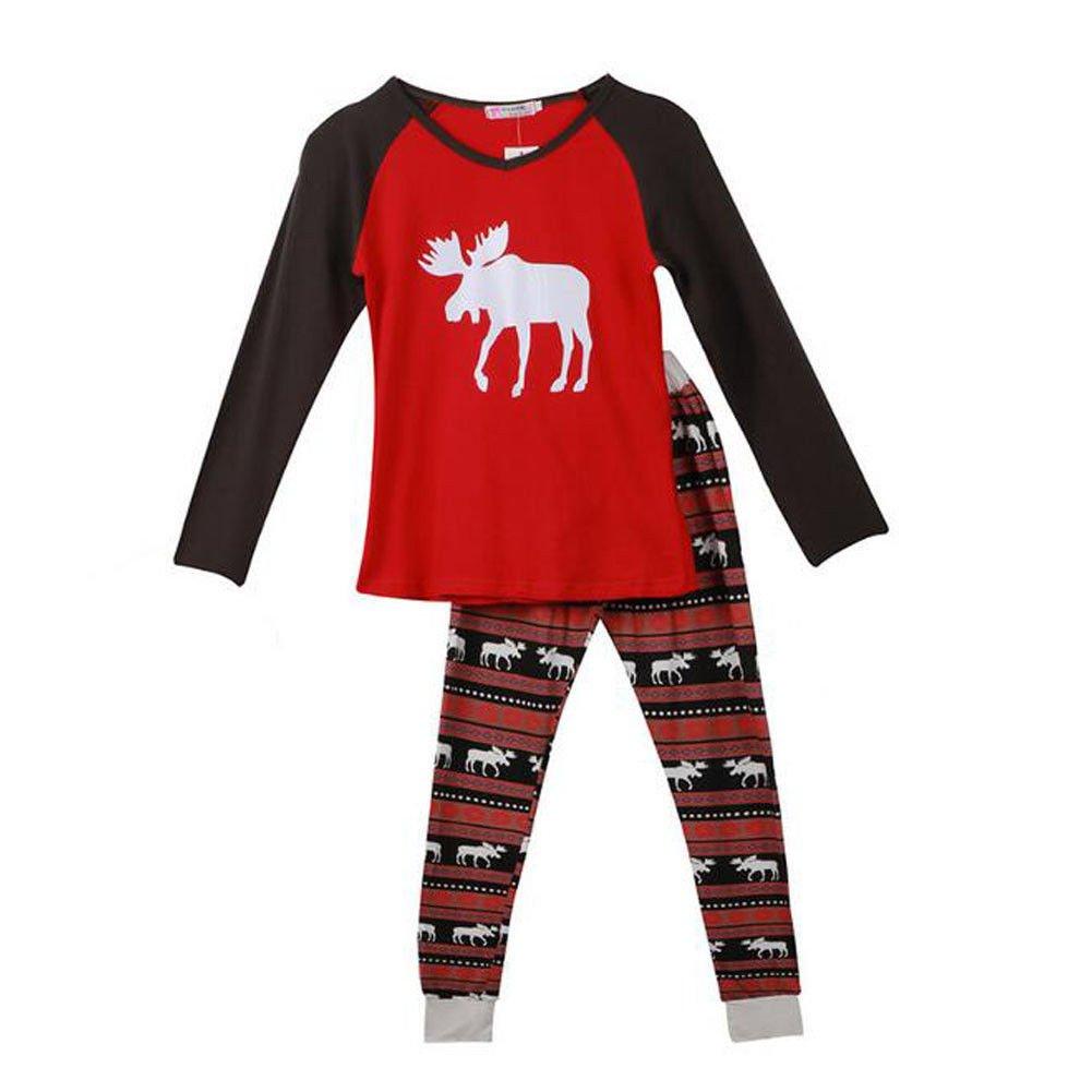 Meijunter Christmas Family Matching Pajamas Set Elk Printing Sleepwear Nightwear
