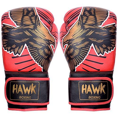 Boxing Gloves Headgear (Hawk Premium Muay Thai Style GEL Boxing Gloves (Red, 12 oz))