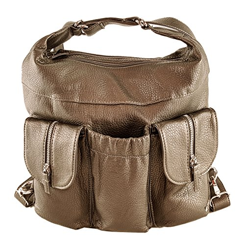 Bag Purse and Gunmetal Soft Convertible Leather Backpack Butterfly King Purse Shoulder Vegan in tXS46n0qS