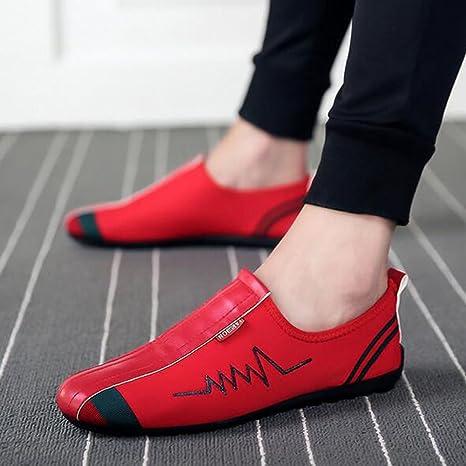 GLSHI Scarpe da uomo Tessuto estivo Mocassino Oxford Scarpe da passeggio Stringate per esterno Nero Rosso (Color : A, Dimensione : 41)