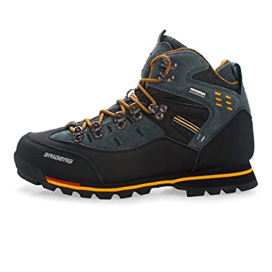 GOMNEAR Mens Hiking Boots High Top Trekking Shoes Non Slip Breathable Walking Climbing Sneaker Black yellow