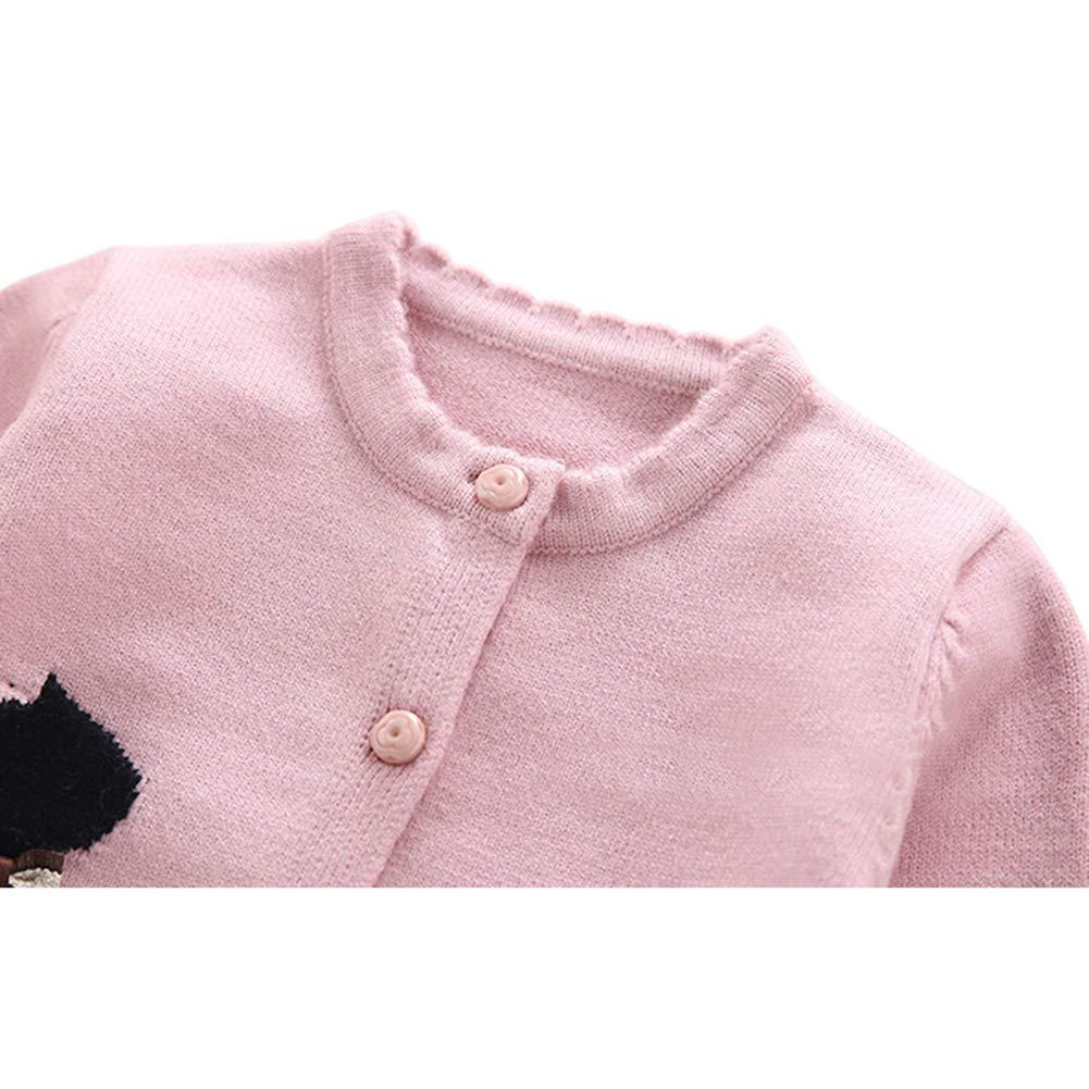 fa8091fa1 Amazon.com  Baby Little Girls Cotton Knit Cardigan Sweaters Kids ...