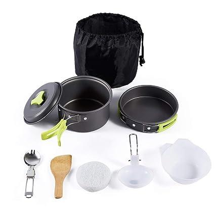 Acampar Kit de utensilios de cocina para 1 a 4 personas, portátil cocinar al aire
