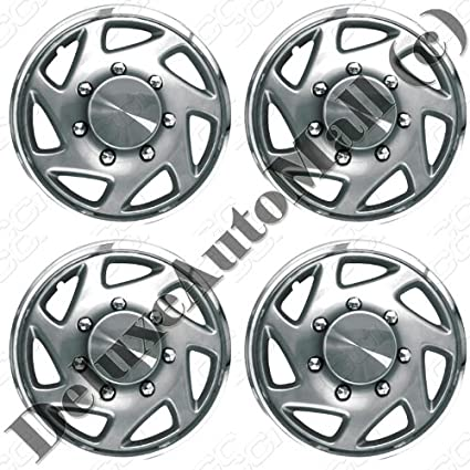 1995, 1996, 1997 Ford F250 / F350 Silver with Chrome Ring Wheel Covers / Hubcaps (Set of 4) - 16