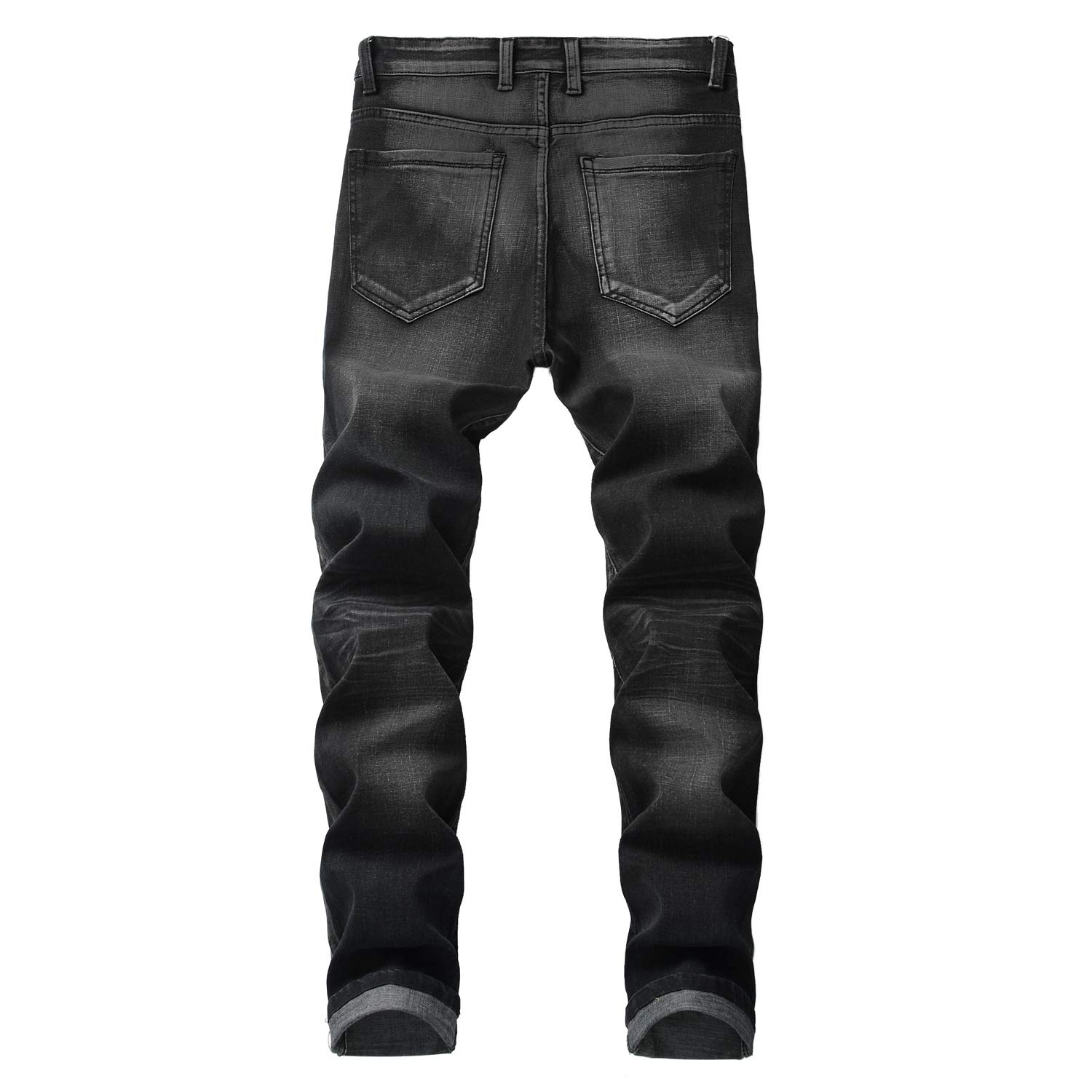 Previn Mens Slim Fit Jeans Patch Ripped Distressed Jeans Washed Biker Moto Demin Pants