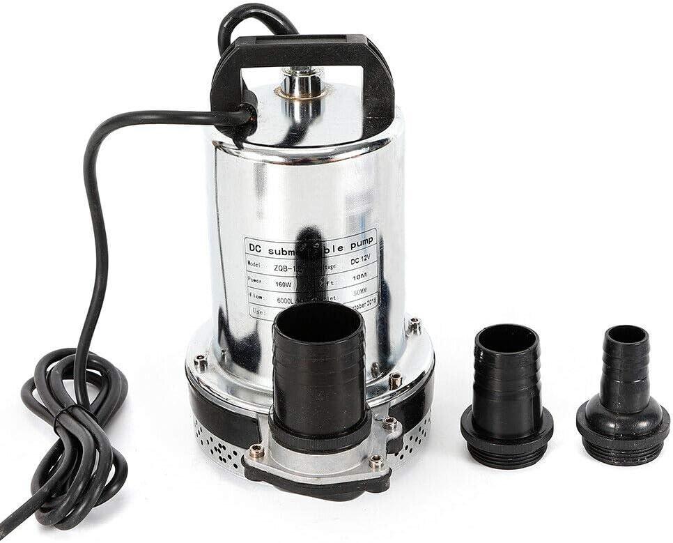 bomba de agua de alto rendimiento bomba de cultivo de peces Bomba sumergible de 12 V 180 W de acero inoxidable CC hasta 6000 l//h