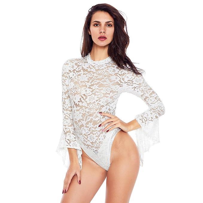 dou616 Europa y América de Moda Sexy Recorte de Encaje de Cuello Alto Manga Larga Sexy Backless Skinny Siamese Ropa Interior Blanco: Amazon.es: Ropa y ...