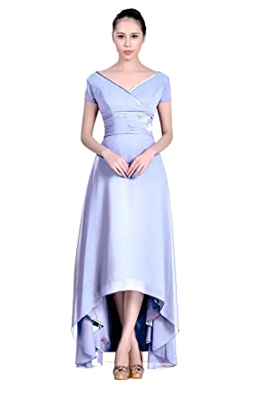 b073e7462541 High Low Chiffon Straps V Neck Short Sleeves A line Formal Mother of The Bridal  Dress