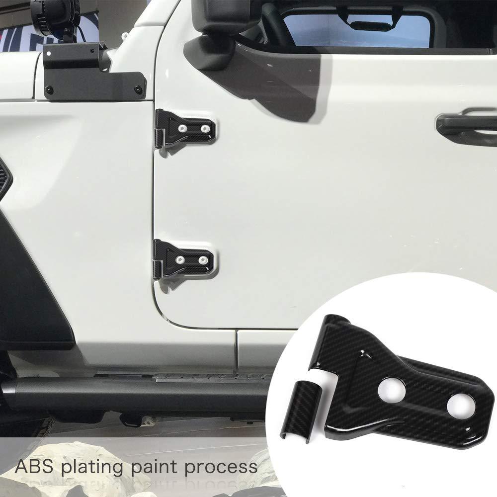 JeCar 8pcs Door Hinge Cover for 4 Door Jeep Wrangler 2018 JL Black