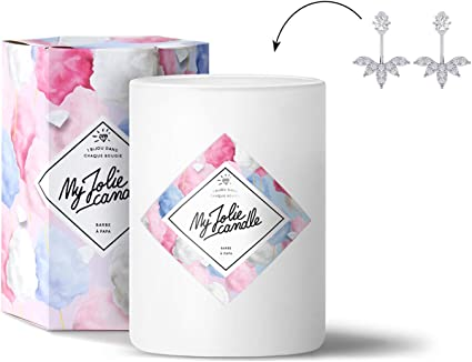 MY JOLIE CANDLE - Bougie parfumée avec Bijou Suprise à l'intérieur - Bijou  : Boucles d'oreilles en Argent - Parfum : Barbe à Papa - Cire Naturelle ...