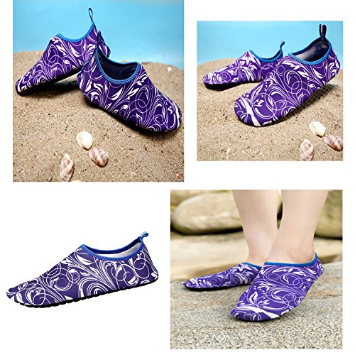 xylxyl Mutifunctional Water Shoes, Lightweight Flexible Quick Dry Aqua Socks For Men and Women Purple