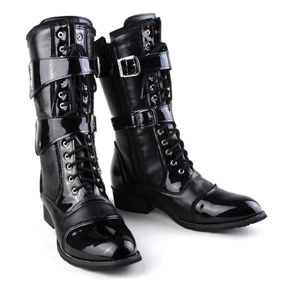 GanSouy Herren Lackleder Lackleder Lackleder Cowboy Outdoor Trekking Lange Stiefel Army Military Combat Schwarz PU Schnürschuh Martin Stiefel Reiten Klassische Hohe Stiefel Schuhe ad96da