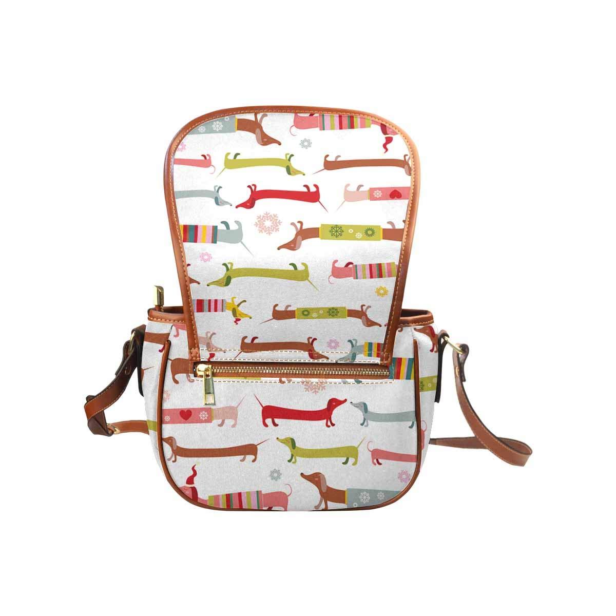 InterestPrint Winter Dachshund Casual Ladies Cross Body Hobo Shoulder Bag Travel Purse