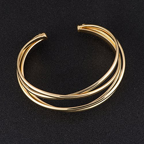 BEICHUANG Multi-layer Ancient Bronze Wire Cross Hollow Out Retro Ethnic Puck Adjustable Bangle Charm Bracelet (Gold1) by BEICHUANG (Image #2)