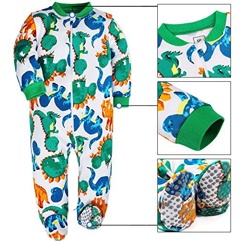 HONGLIN Baby Boys 2-Pack Footed Baby Pajamas Sleepers Rompers 100% Cotton Non-Slipping Sole (Dinosaur+Plane, 12-18 Months) by HONGLIN (Image #7)
