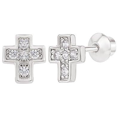 da8a9441d2cb In Season Jewelry - 925 Plata de Ley Circonitas Claras Pequeña Cruz Aretes  con Cierre de Rosca para Niñas  Amazon.es  Joyería