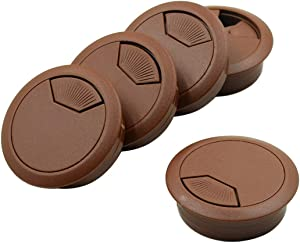"""Cyful Desk Grommet Plastic Wire Cable Organizer 2"""" x 2"""" Brown (5 Pack)"""