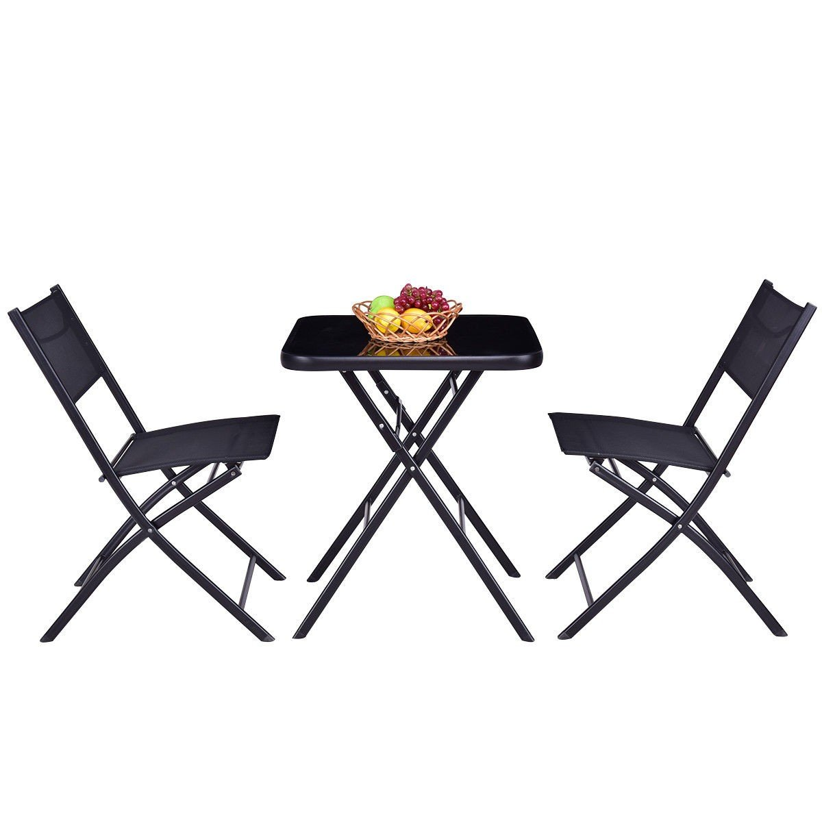 All4you Patio Bistro Table Set With Chairs Folding Outdoor Seater Coffee Table Set Black Backyard Balcony Furniture by All4you (Image #3)