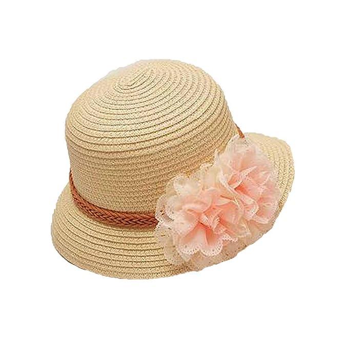 ebe73cd5d946e1 Summer Kids Floral Straw Hats Hat Children Visor Beach Baby Girls Sun Hat  Wide Brim Floppy