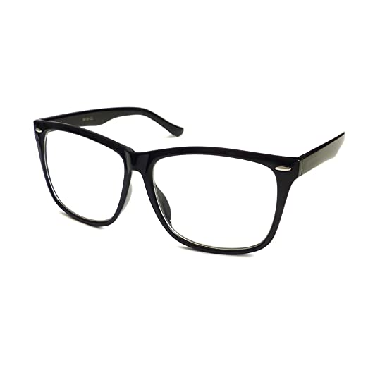 bfff0afaf60 Image Unavailable. Image not available for. Color  NERD Geek 50s Style  Oversize Fashion Frame Unisex Clear Lens Eye Glasses BLACK