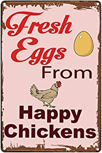 Original Vintage Design Fresh Eggs from The Happy Chickens | Tin Metal Sign Wall Art, Thick Tinplate Print Poster Wall Decoration Signs for Farm/Kitchen/Egg Shop