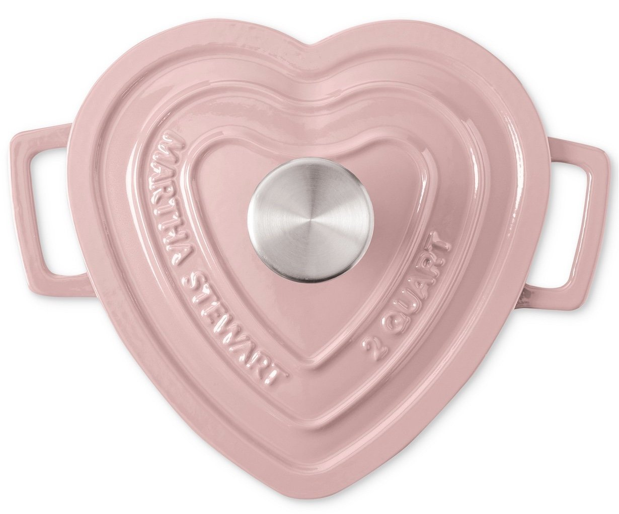 Martha Stewart Collection Collectors Enameled Cast Iron Heart-Shaped Casserole 2 QT Pink
