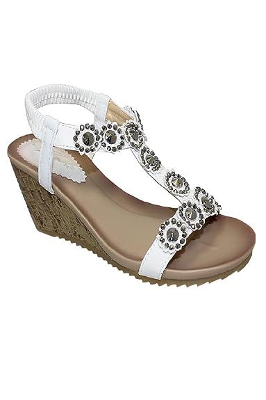Saphir Boutique jlh780 Cally Damen Bequem T-Riemen Blumen Elastisch Keilabsatz Sandalen - Weiß, 3 UK