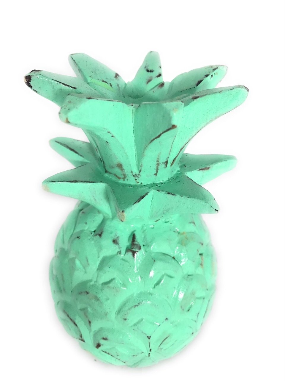TikiMaster Pineapple Rustic Turquoise 7.5''X4'' Hand Carved Decorative | #mar18t