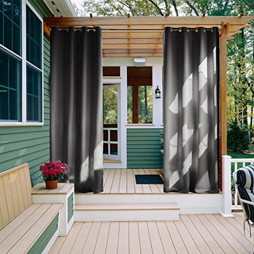 Outdoor Privacy Curtain for Patio - NICETOWN Window Treatment Grommet Top Blackout Water Repellent Indoor Outdoor Blind / Shade for Gazebo (1 Panel,52 by 84 Inch, Grey) (Curtains Sunroom)