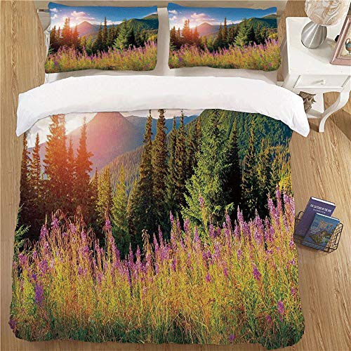 Printed Duvet Cover Set,King Size,3pc for Children's Bedroom Landscape Fall Landscape Picture in Mountains with Flowers Alpine Trees Forest at Sunrise Green Pink
