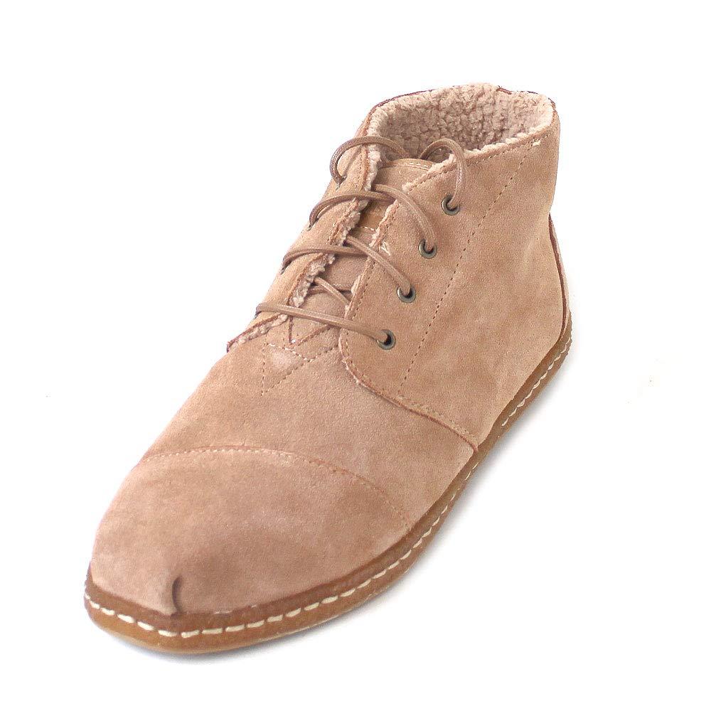 TALLA 41 EU. TOMS - Zapatillas de Cuero para Hombre Marrón Toffee Cow Suede Faux Shearling On Crepe