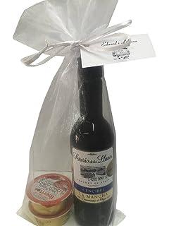 Recuerdo de comunión con vino Señorío de los Llanos y dos monodosis de patés en bolsa
