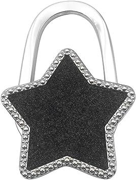 Black Reizteko Purse Hook Rhinestone Religious Cross Foldable Handbag Purse Hanger Hook Holder for Tables