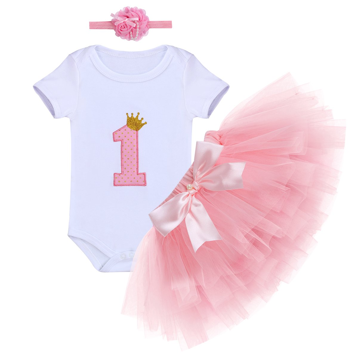 IBTOM CASTLE Baby Girl It's My 1st Birthday Outfits Cake Smash Crown