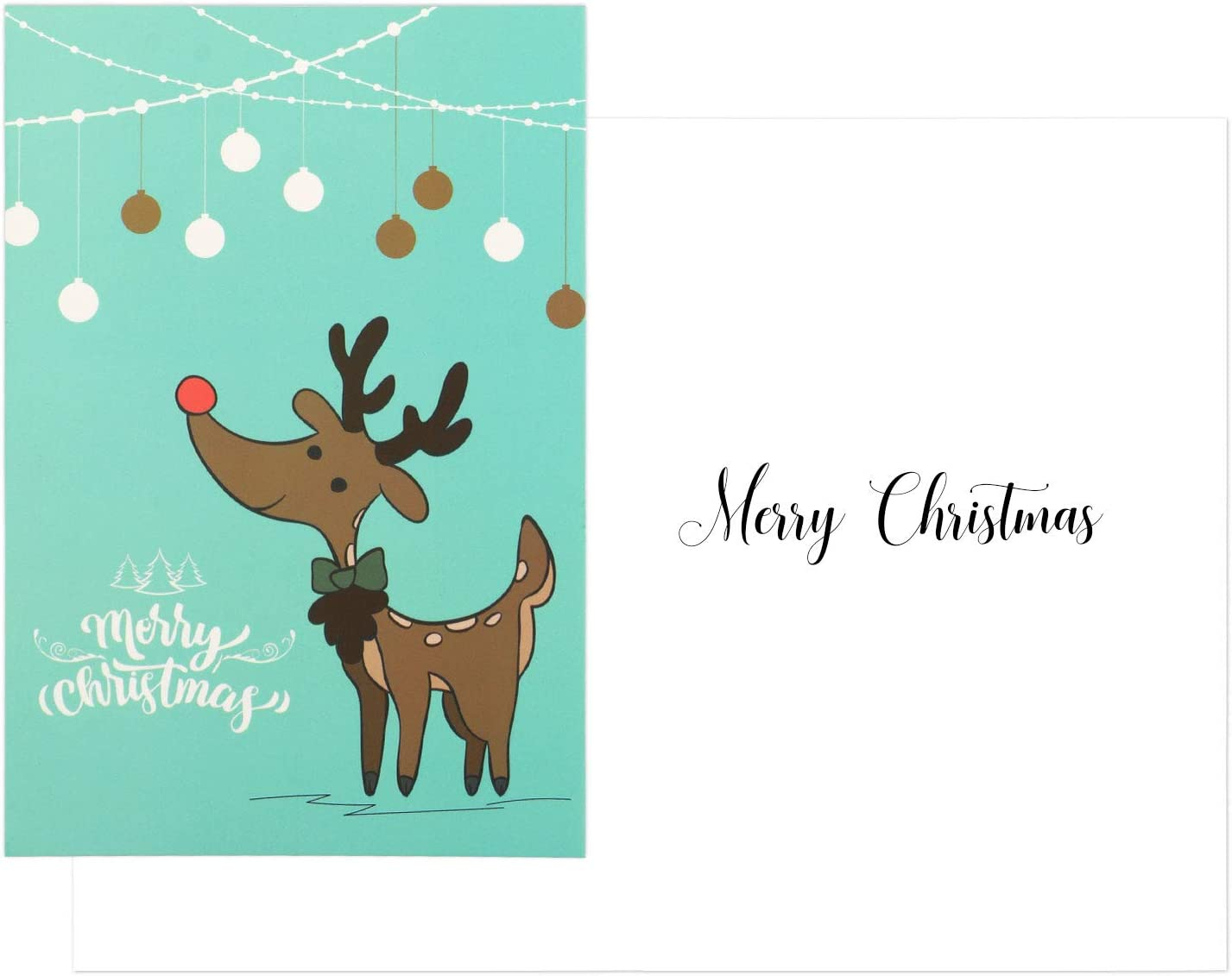 Set of 12 Christmas Greeting Cards with Envelopes, Festive Element Designs Santa Reindeer, 4x6 inches