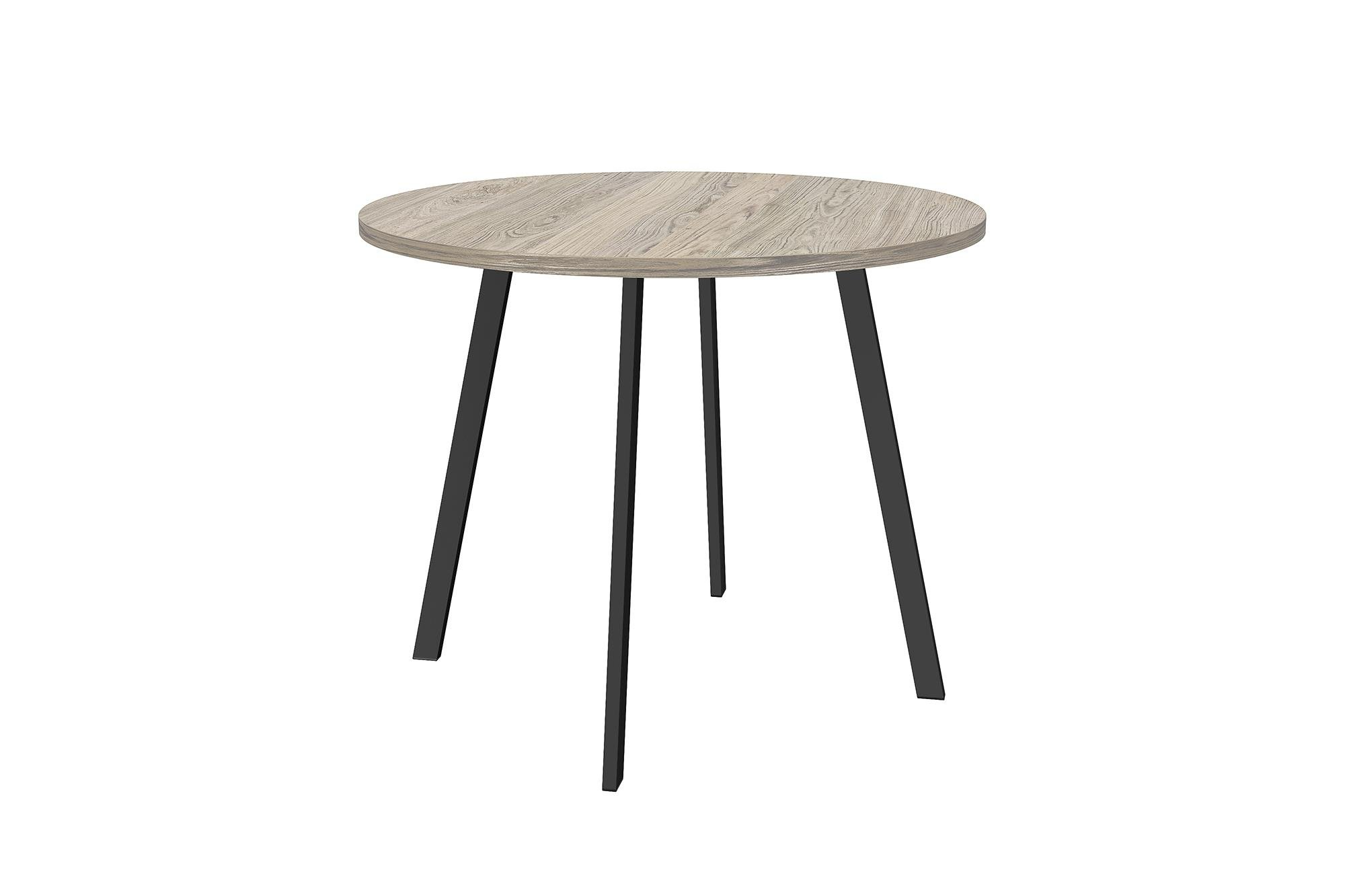 Novogratz Leo Farmhouse Round Dining Table with Sleek Slanted Metal Legs and Grey Wood Veneer Table Top - Rustic, yet contemporary style that is perfect for small spaces as it's compact Mix and match with the Novogratz Leo Farmhouse Bar Stool, Counter Stool and Dining Chair Made of a Sturdy Black metal frame and grey wood veneer table Top - kitchen-dining-room-furniture, kitchen-dining-room, kitchen-dining-room-tables - 61aA00T8LqL -