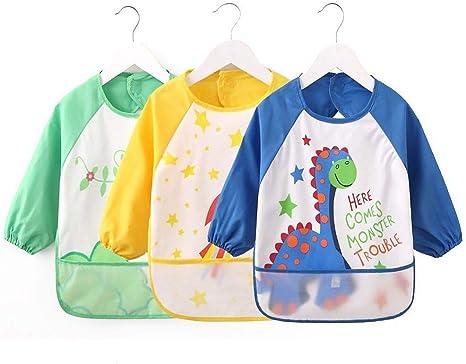 Vicloon Bibs with Sleeves,4 Pcs Waterproof Long Sleeve Bib Unisex Feeding Bibs 6